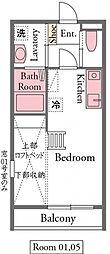ドリームIII 2階ワンルームの間取り
