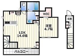 Helena GARDEN玉串町西3 2階ワンルームの間取り