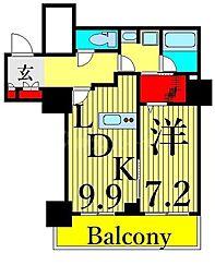 東京メトロ日比谷線 南千住駅 徒歩5分の賃貸マンション 20階1DKの間取り