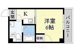 南海線 住ノ江駅 徒歩10分の賃貸マンション 6階1Kの間取り