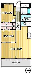コンヤスビル 7階2LDKの間取り