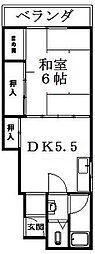 竹田ハイツ[3階]の間取り
