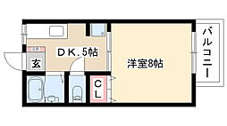 愛知県名古屋市熱田区八番1丁目の賃貸アパートの間取り