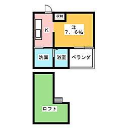 愛知県名古屋市中川区中郷2の賃貸アパートの間取り