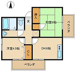兵庫県尼崎市武庫之荘本町1丁目の賃貸アパートの間取り