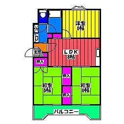 福岡県福岡市南区高木1丁目の賃貸マンションの間取り
