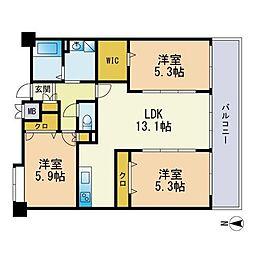 エスティメゾン博多東 3階3LDKの間取り