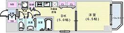 Osaka Metro千日前線 阿波座駅 徒歩6分の賃貸マンション 2階1DKの間取り
