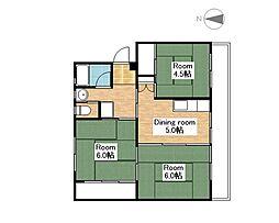 ビレッジハウス南小足第二2号棟[2階]の間取り