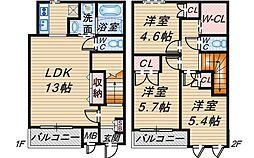 [テラスハウス] 大阪府豊中市西泉丘3丁目 の賃貸【/】の間取り