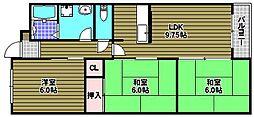 大阪府大阪狭山市東野中2丁目の賃貸マンションの間取り