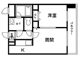 レジディア札幌駅前 14階1DKの間取り