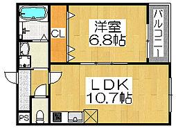 大阪府堺市西区浜寺石津町東3丁の賃貸アパートの間取り