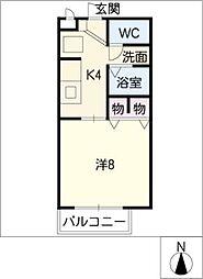 フラット矢戸川A・B棟[2階]の間取り