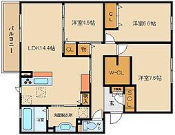 セジュールオッツ山本/大和ハウス[102号室]の間取り