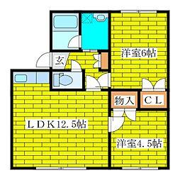フラワーコーポ2[2階]の間取り