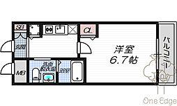 ビガーポリス224松ヶ枝町II 4階1Kの間取り