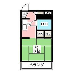 コーポ東橋良[2階]の間取り