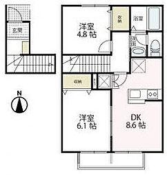 シャンテ[2階]の間取り