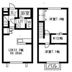 [テラスハウス] 神奈川県伊勢原市粟窪 の賃貸【/】の間取り