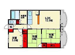 福岡県春日市下白水南3丁目の賃貸マンションの間取り
