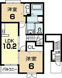 スプリングフォレストII[2階]の間取り