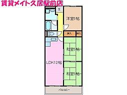 メゾンドゥールI[5階]の間取り