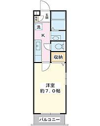 コンフォートIMAGAWA 1階1Kの間取り