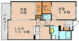 ボヌール綾の杜[8階]の間取り