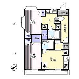 ハウス赤塚[2階]の間取り