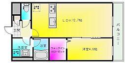 ドミソレイユ4 1階1LDKの間取り