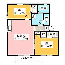 福岡県大野城市筒井4丁目の賃貸アパートの間取り