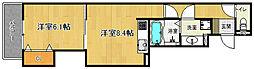 近鉄京都線 東寺駅 徒歩13分の賃貸アパート 2階1LDKの間取り