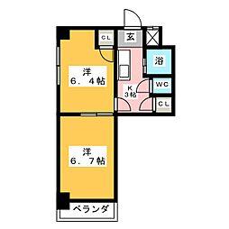 シャトー山田[6階]の間取り