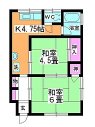 コーポ上野[102号室]の間取り