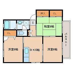 奈良県香芝市藤山の賃貸アパートの間取り