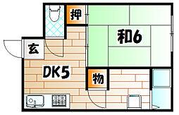 CASA KAORI B棟[1階]の間取り
