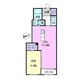 (仮称)寿豊丘Mアパート 1階1LDKの間取り