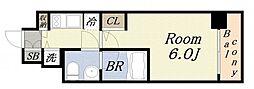 エスライズ大阪ドームレジデンス 6階1Kの間取り