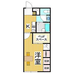 長野県松本市大字大村の賃貸アパートの間取り