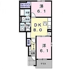 ドマーニ三隈 B[1階]の間取り
