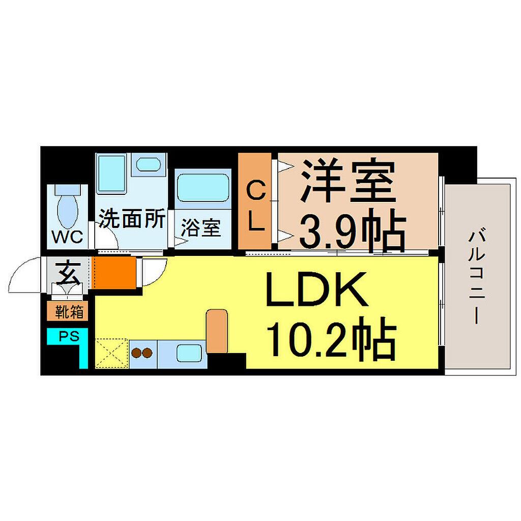 間取り(間取り LDK10.2帖 洋室3.9帖 脱衣洗面所)