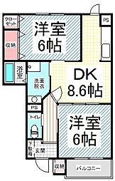 長野県長野市北条町の賃貸アパートの間取り