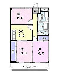 富山県富山市萩原の賃貸マンションの間取り