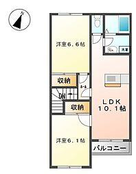 ラフォーレ 2階2LDKの間取り