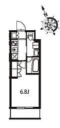 アジールコート東大井 3階1Kの間取り
