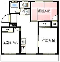 神奈川県海老名市東柏ケ谷5丁目の賃貸マンションの間取り