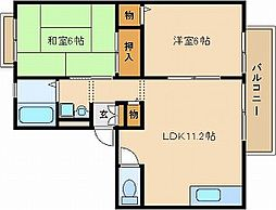 サンビレッジOKUNO A棟[2階]の間取り