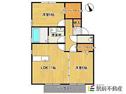 レスペートA棟[1階]の間取り