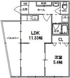帝塚山サニーハイツ[1階]の間取り